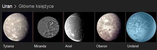 Główne księżyce planety Uran: Tytania, Miranda, Ariel, Oberon i Umbriel.