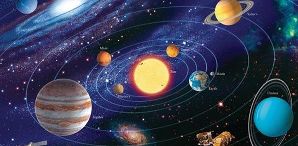 Układ Słoneczny i planety: Merkury, Wenus, Ziemia, Mars, Jowisz, Saturn, Uran i Neptun (oraz niegdyś uważany za planetę Pluton).