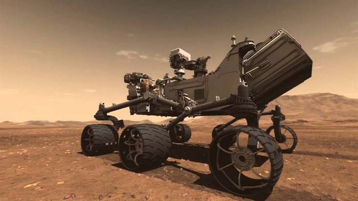 Artystyczna wizja łazika Curiosity na powierzchni Marsa. Fotografia: i.ytimg.com.
