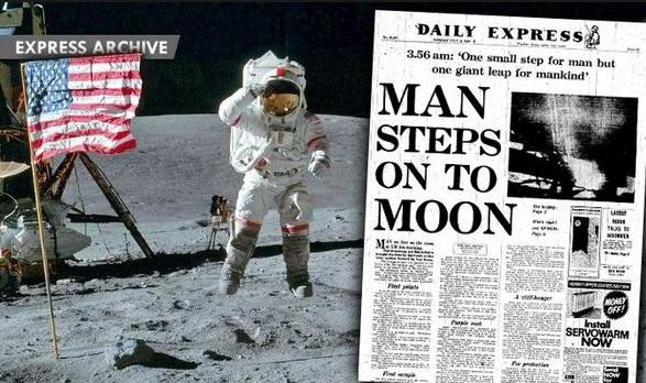Misja Apollo 11 i lądowanie człowieka na Srebrnym Globie w 1969 roku. Źródło: express.co.uk.