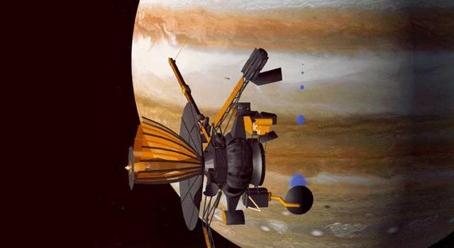 Sonda Galileo na tle Jowisza. Fotografia: nasa.gov.