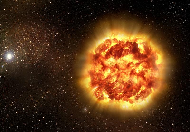 Betelgeza w gwiazdozbiorze Oriona. Artystyczna wizja wybuchu Alfa Orionis i przekształcenia się w supernową. Fotografia: commons.wikimedia.org.