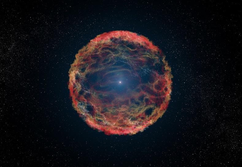 Wybuch supernowej jako przykład postępującej anihilacji gwiazdy w przestrzeni kosmicznej