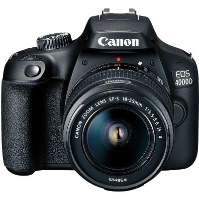 lustrzanka cyfrowa Canon EOS 4000D, z obiektywem 18-55 mm EF-S DC III i rozdzielczością ekranu 18,0 Mpx