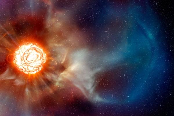 Artystyczna wizja wybuchu supernowej Betelgezy, na podstawie rzeczywistych obserwacji przy pomocy Very Large Telescope w Chile. Fotografia: astronomy.com.