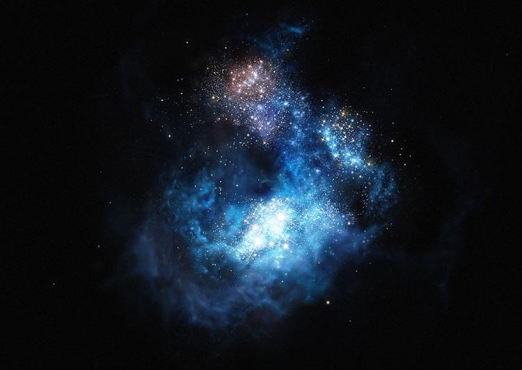 Artystyczna wizja galaktyki Cosmos Redshift, jednej z najdalej położonych dotychczas odkrytych galaktyk, której wiek odpowiada wczesnemu tworzeniu się Wszechświata, jaki znamy. Fotografia: wikipedia.org.