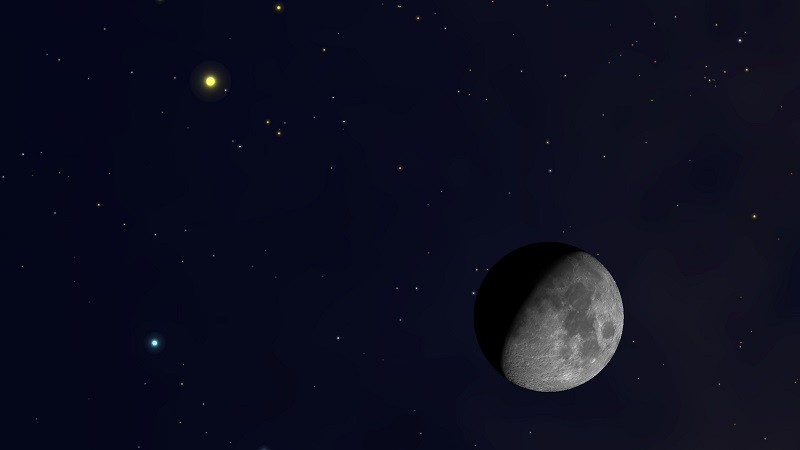 Najbliższa koniunkcja Księżyca, Jowisza i Saturna nastąpi 12 maja 2020 roku. Fotografia: space.com.