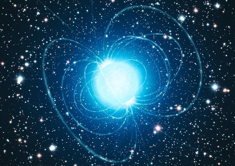 Magnetar Swift J1818.0-1607. Artystyczna wizja pulsara emitującego bardzo silne promieniowanie elektromagnetyczne i radiowe. Fotografia: hyperaxion.com.