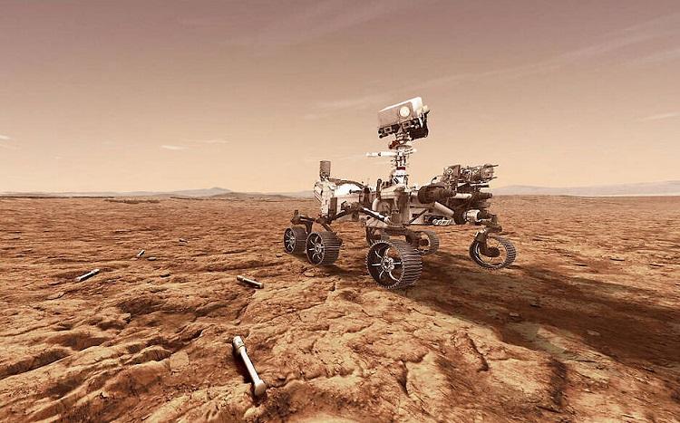 Łazik Perseverance na powierzchni Marsa - fotografia poglądowa. Zdjęcie: timesofisrael.com.