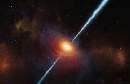 Kwazar P172+18 z potężnym dżetem, napędzanym przez supermasywną czarną dziurę