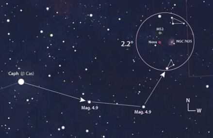 Eksplozja termojądrowa białego karła V1405 Cas w układzie podwójnym w gwiazdozbiorze Kasjopei
