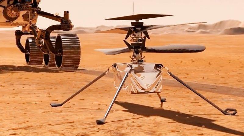 Dron Mars Ingenuity z łazikiem Perseverance w tle - fotografia poglądowa. Źródło: dronexl.co.