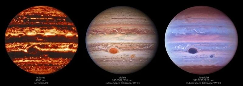 Wielka Czerwona Plama na Jowiszu - obrazy z 2017 roku, wykonane kolejno w podczerwieni, świetle widzialnym i UV. Fotografia: NASA.gov.
