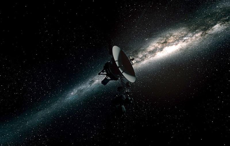 Sonda Voyager 1 w przestrzeni międzygwiezdnej, poza heliosferą [wizualizacja]. Źródło: cloudfront.net.