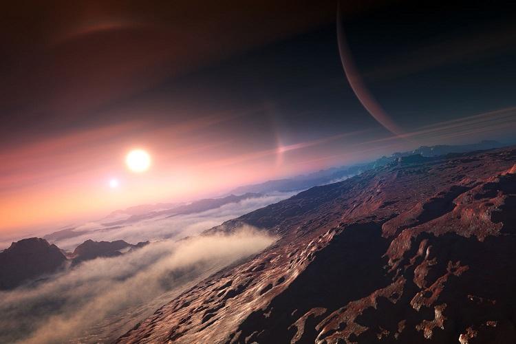 Egzoplaneta skalista [wizja artystyczna]. Nową grupę mają stanowić planety hyceańskie, z głębokimi oceanami, wodorem w atmosferze oraz wysoką temperaturą na powierzchni.