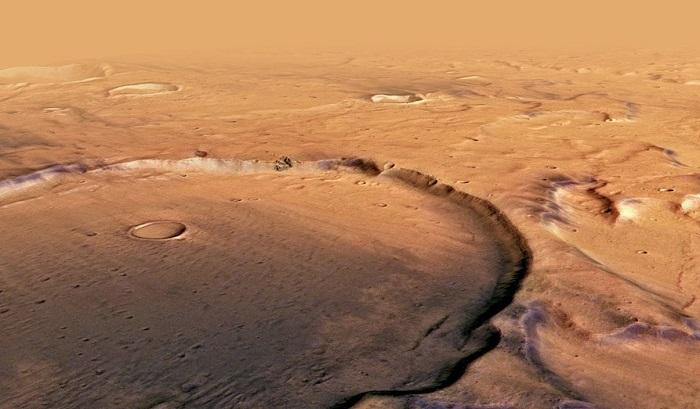 Kratery na powierzchni Marsa. Źródło: ESA/DLR/FU Berlin / Astronomy.com.